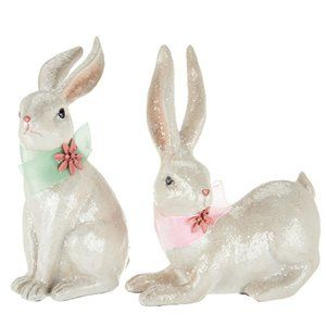 Set of 2 Sitting and Standing Sugared Bunnies